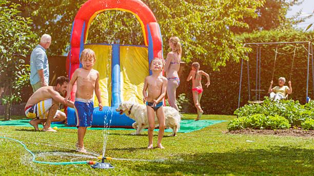 Family back yard party stock photo