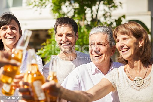 1196170672istockphoto Family barbecue drinking beer and laughing. 1203187431