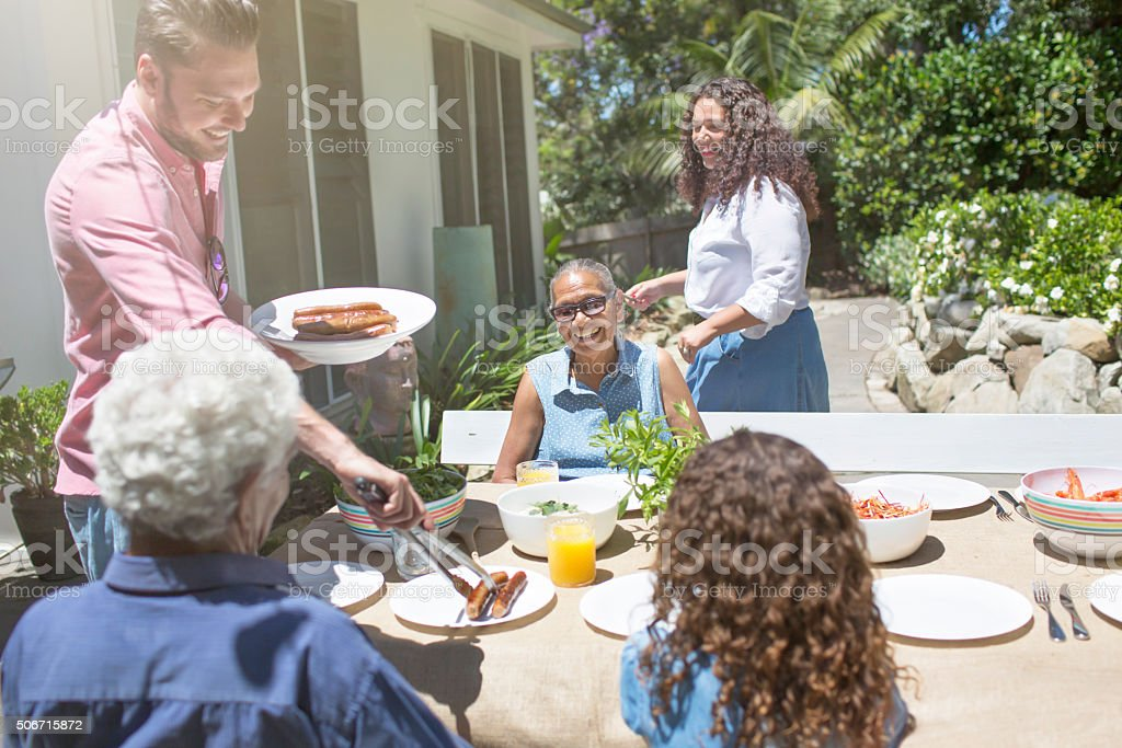 Family barbecue stock photo