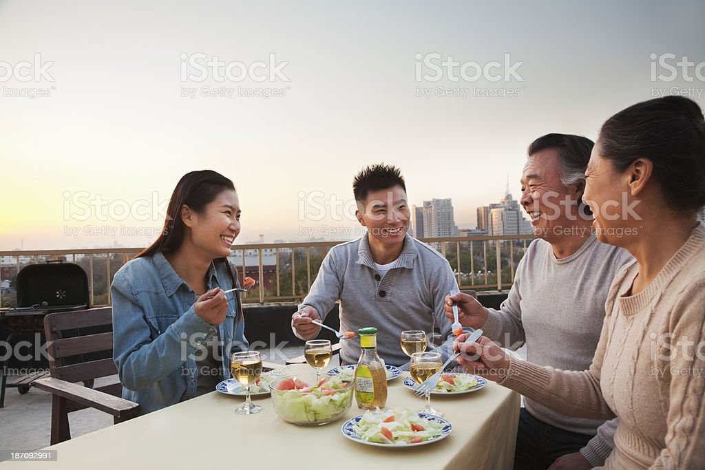 Family barbeque party stock photo