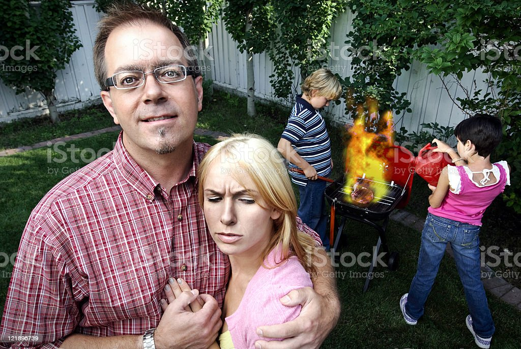 Family Barbeque stock photo