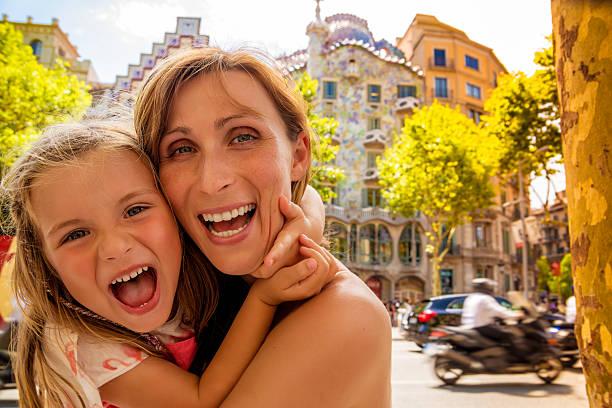 family barcelona gaudi house stock photo