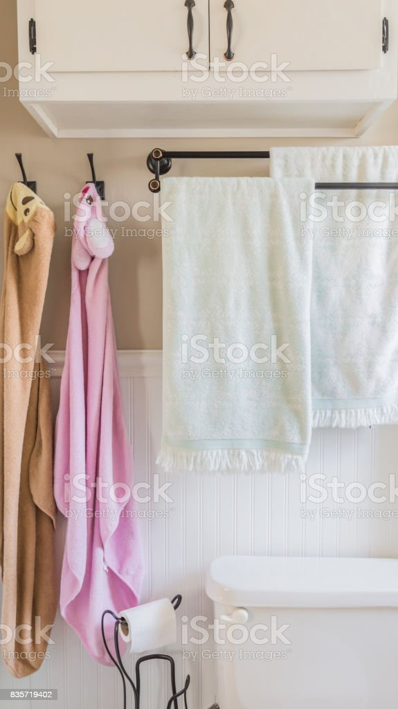 Family bathroom in small house stock photo