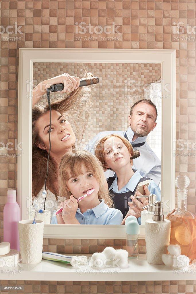 Family bathroom stock photo