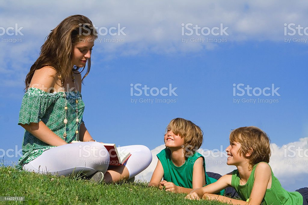 family bible reading stock photo