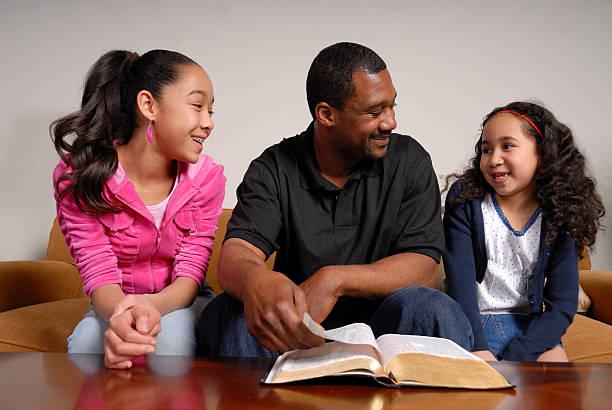 Family Bible Time stock photo