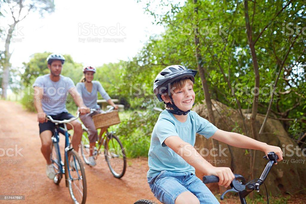Family bicycle fun stock photo