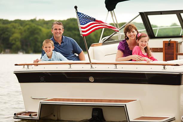 Family Boating on Lake stock photo