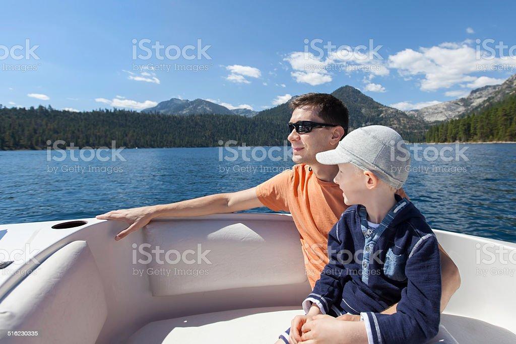 family boating stock photo