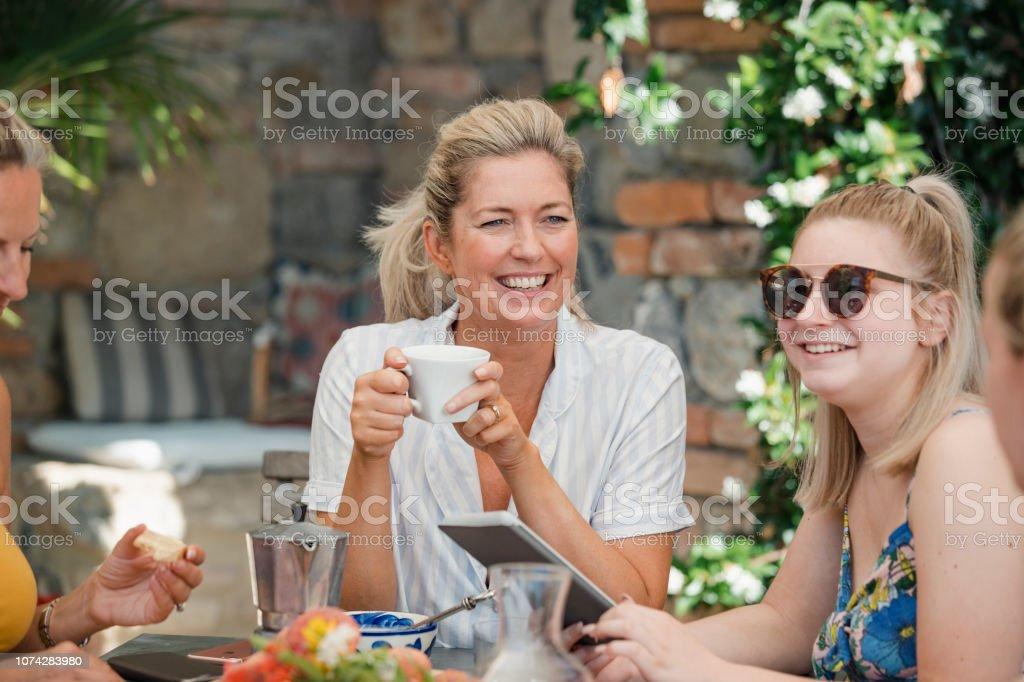 Family Breakfast in Italy stock photo