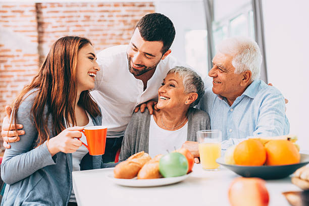 family breakfast - adults only stock photos and pictures