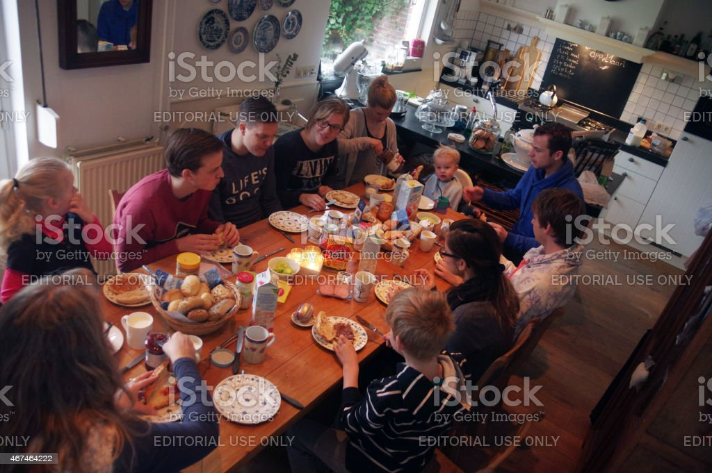 Family brunch stock photo