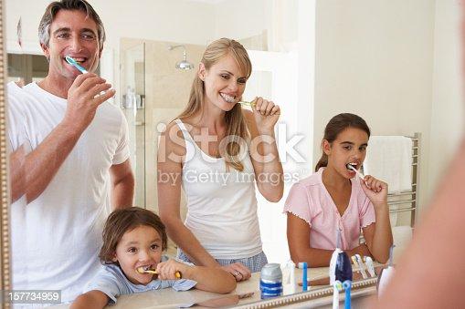 185211538istockphoto Family Brushing Teeth In Bathroom Mirror 157734959