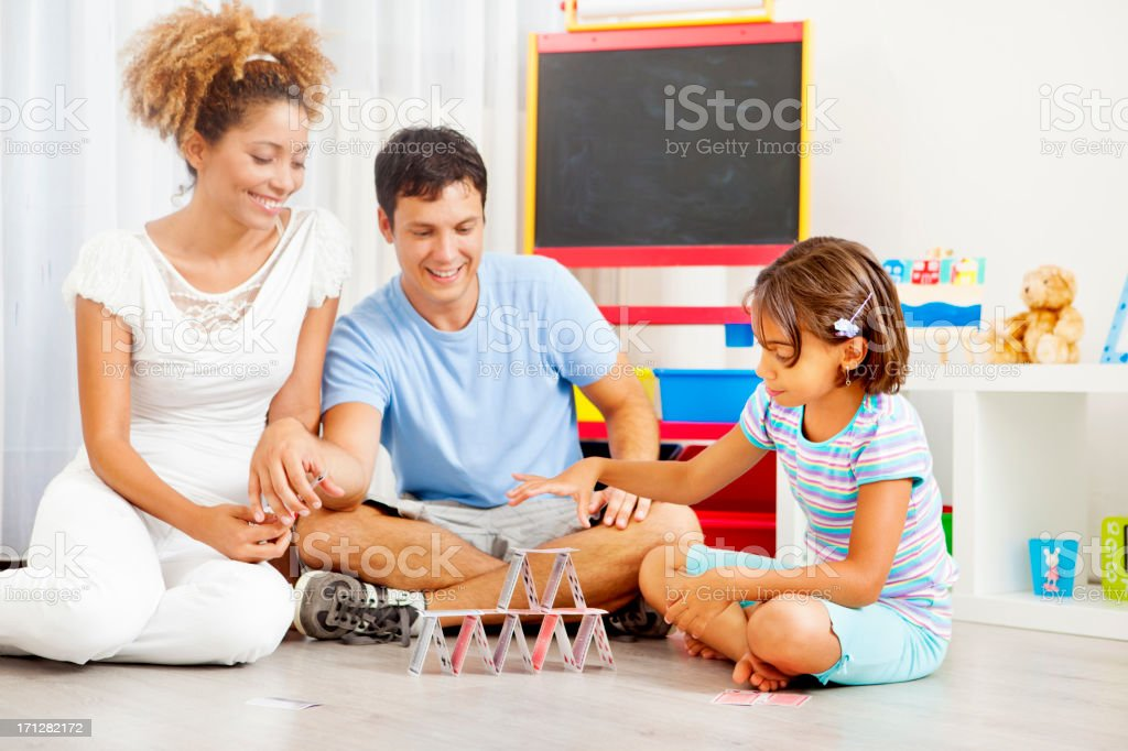 Family Building House of cards. stock photo