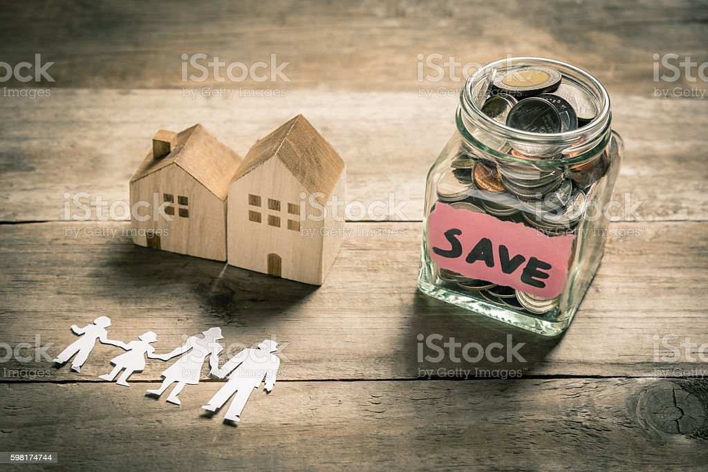 Family buying house concept stock photo