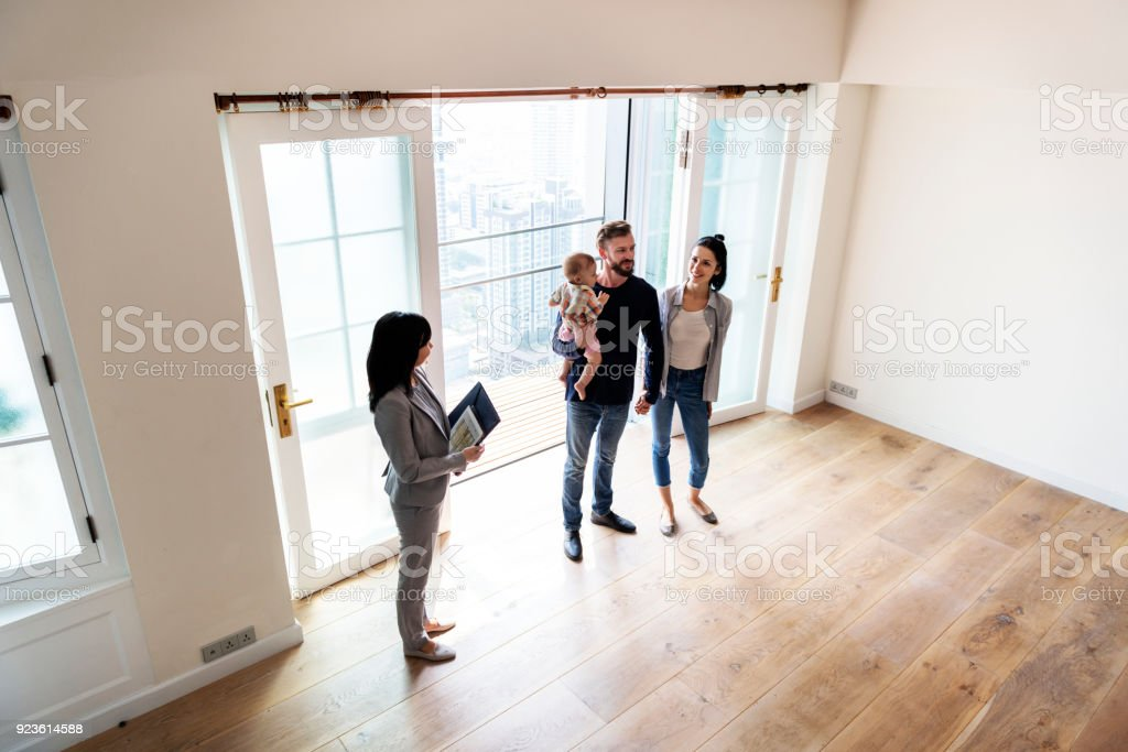 Family buying new house stock photo