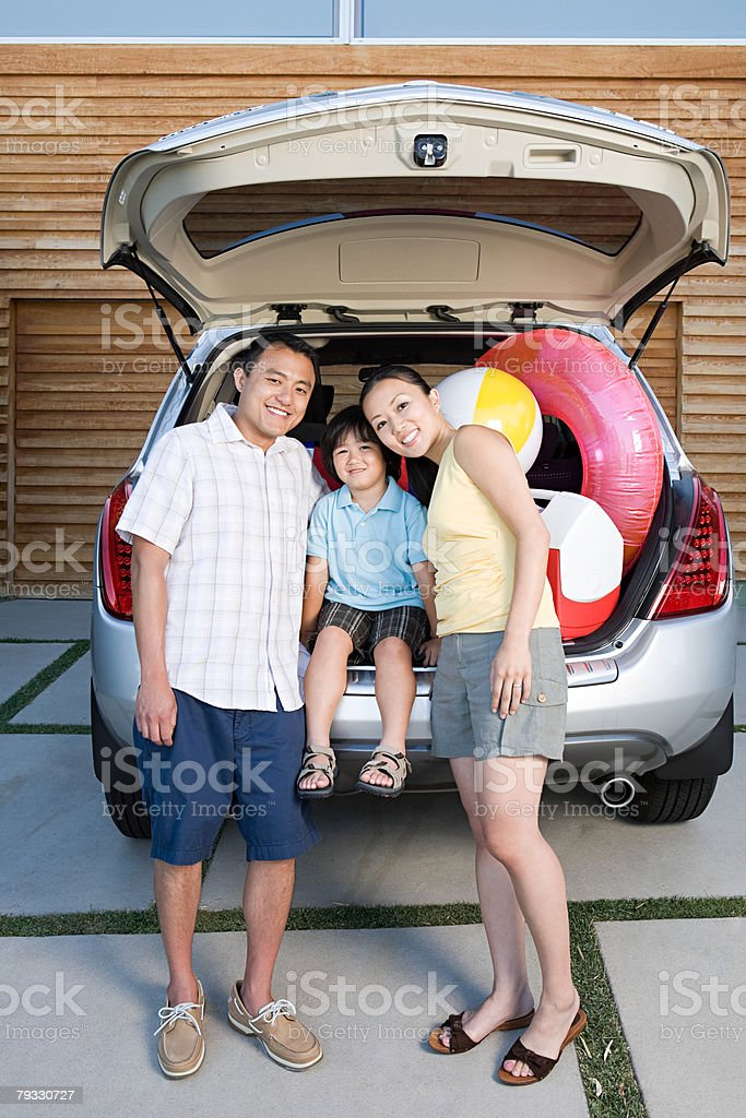 Family by car royalty-free stock photo