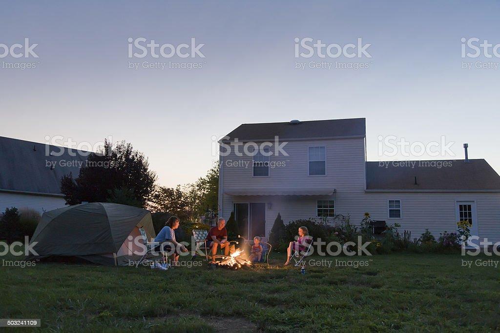 Family Campfire in the Backyard stock photo