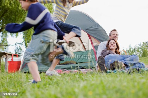 88688880 istock photo Family camping in remote area 88688834