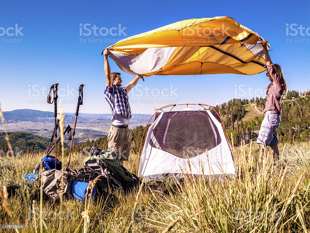 Family camping royalty-free stock photo