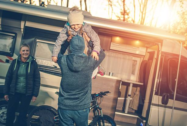 family camping time - motorhome stock photos and pictures
