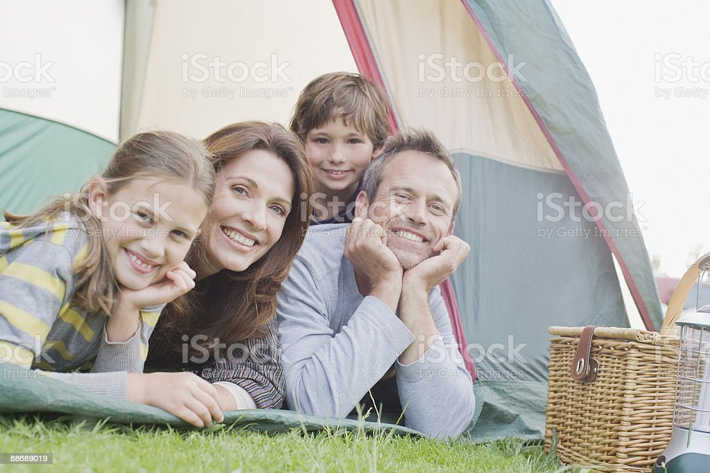 Family camping together royalty-free stock photo