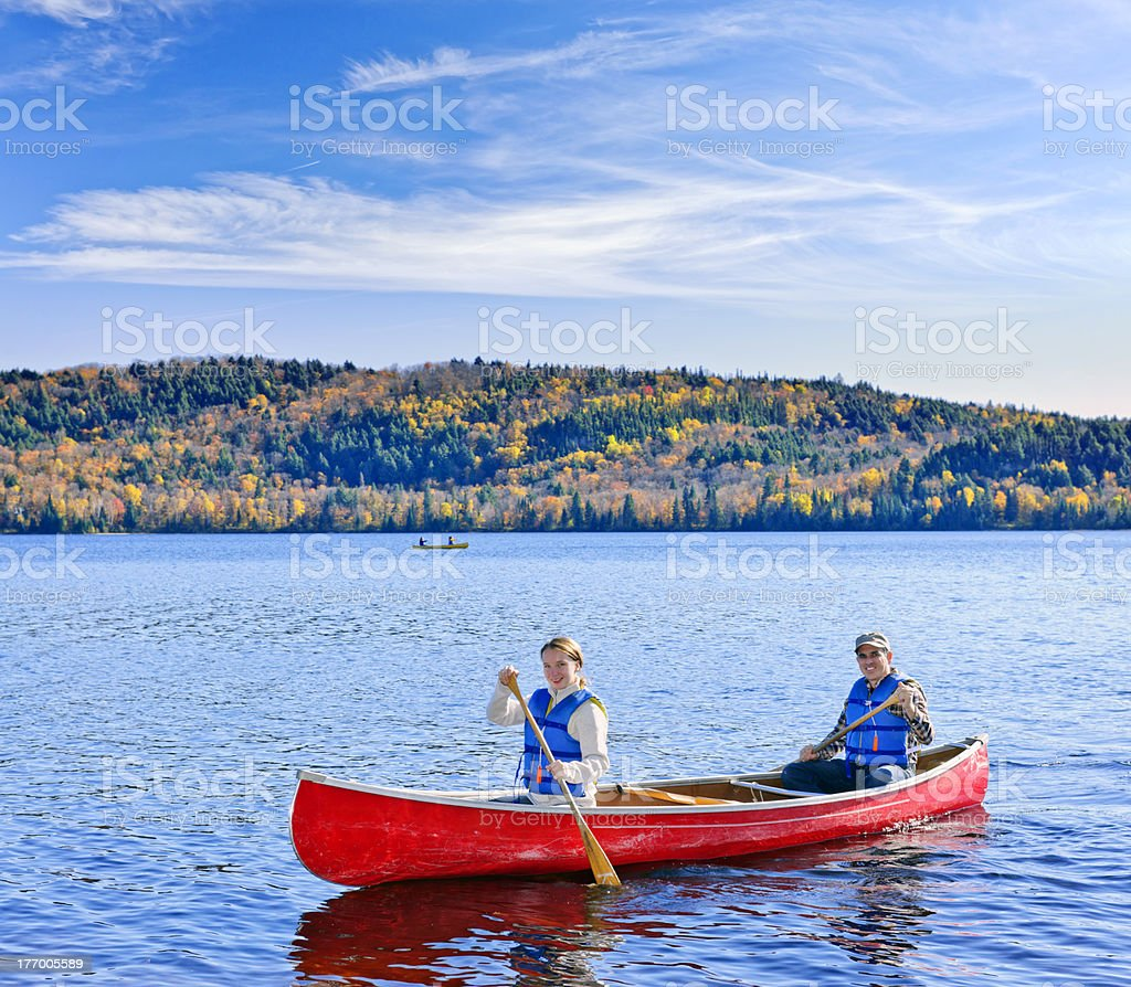 Family canoe trip royalty-free stock photo