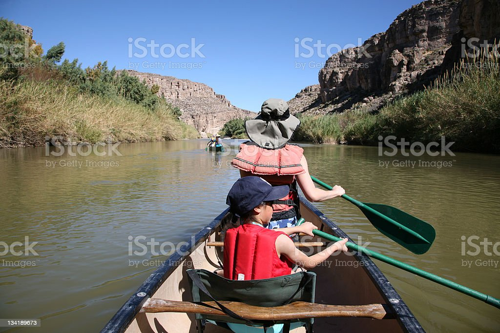 Family Canoeing stock photo