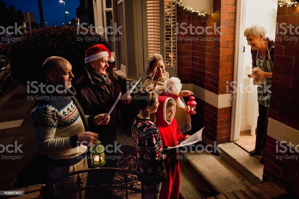 Family Carol Singing stock photo