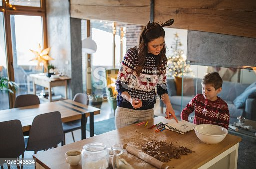 Young mother with son celebrating Christmas at home and prepare Christmas meal. Home is decorated with Christmas ornaments and lights.