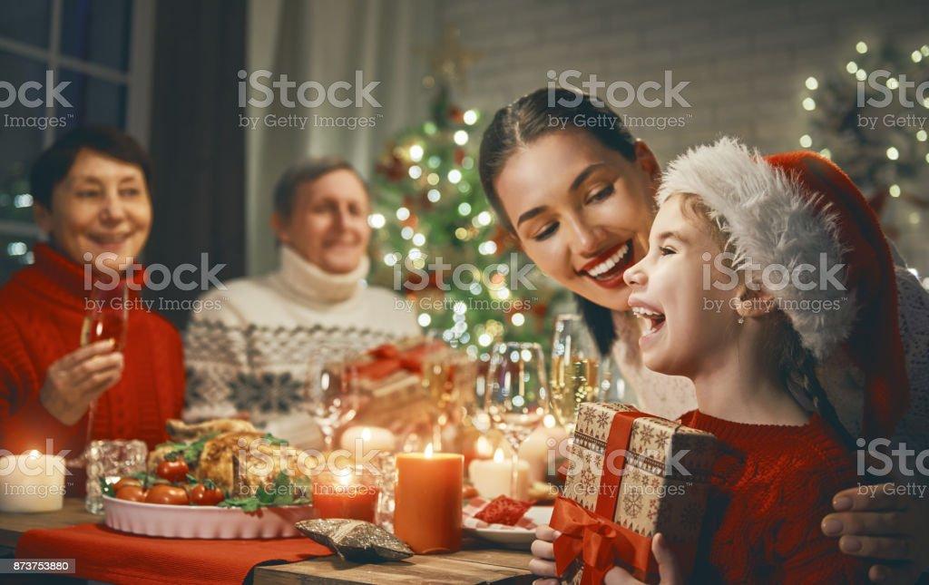 Family celebrates Christmas. stock photo
