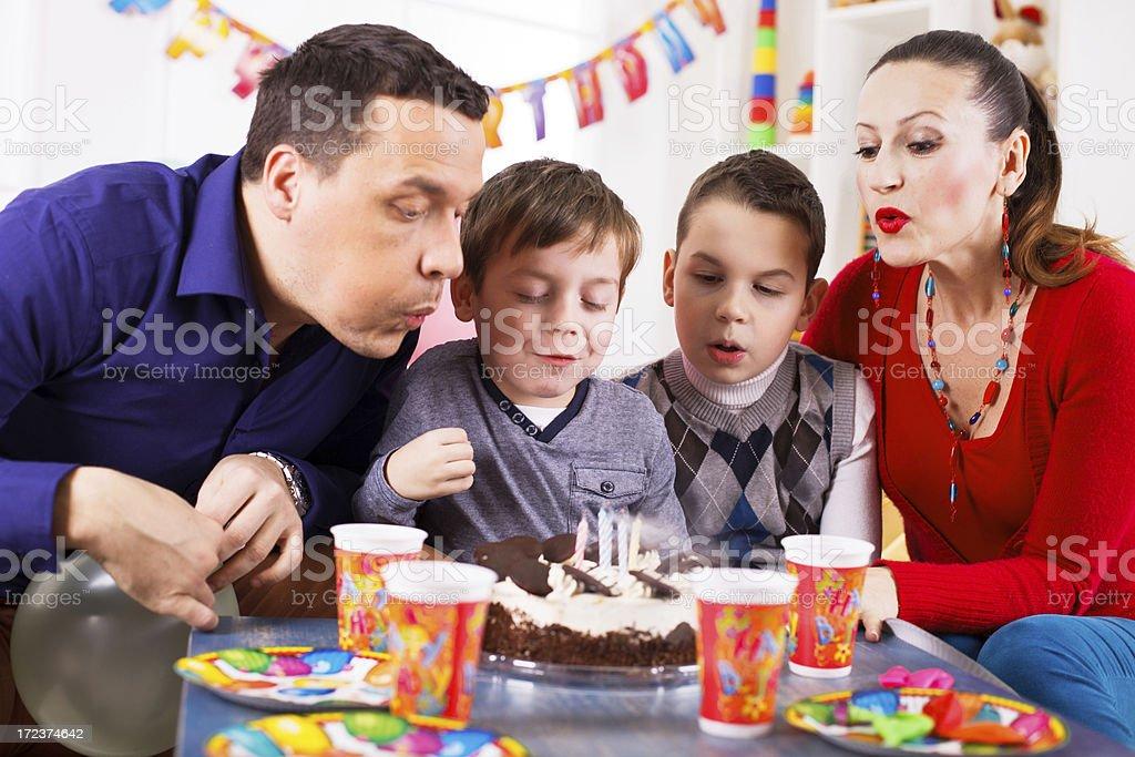 Family celebrating a birthday royalty-free stock photo