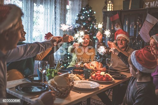 istock Family celebrating Christmas for many years together 622000896