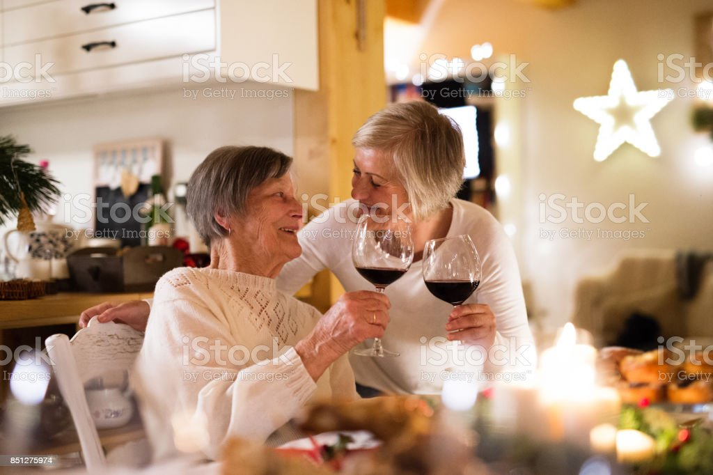 Family celebrating Christmas. Senior woman and her mother. stock photo