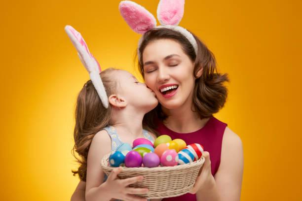 Family celebrating Easter. stock photo