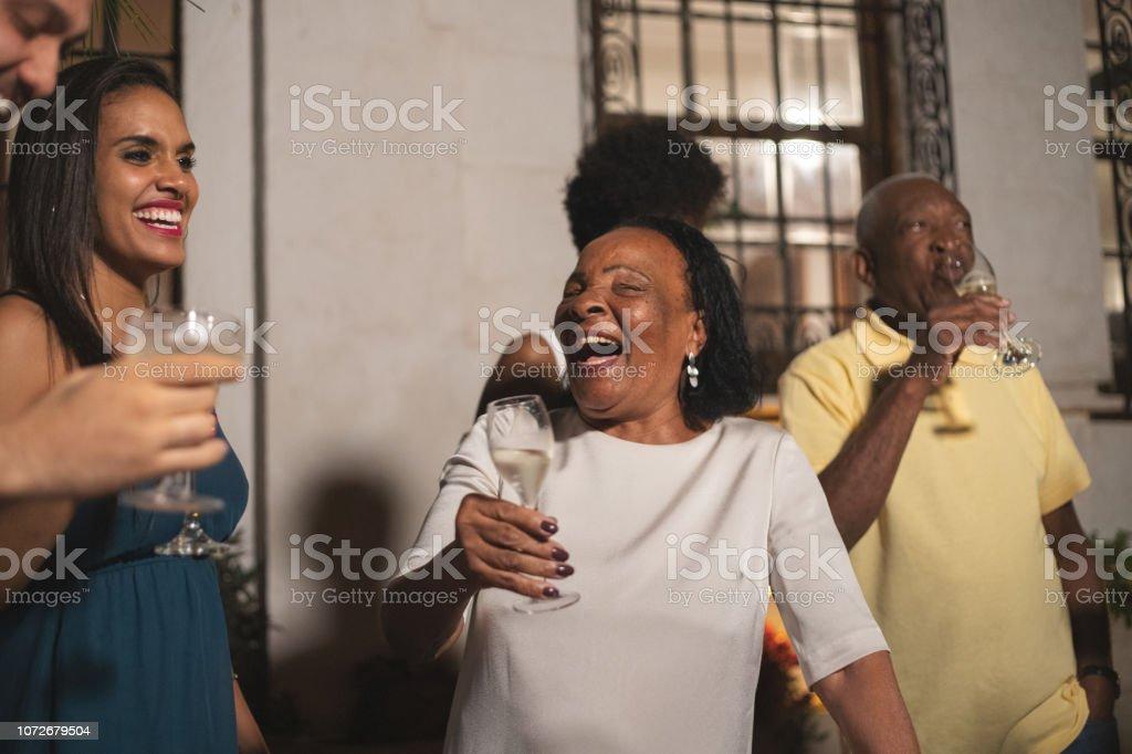 Family Celebrating Happy New Year at Home stock photo