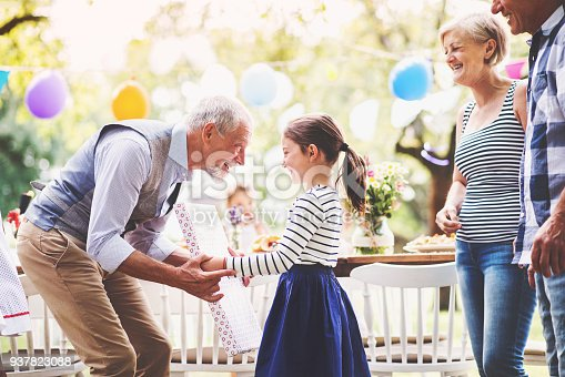 istock Family celebration or a garden party outside in the backyard. 937823088
