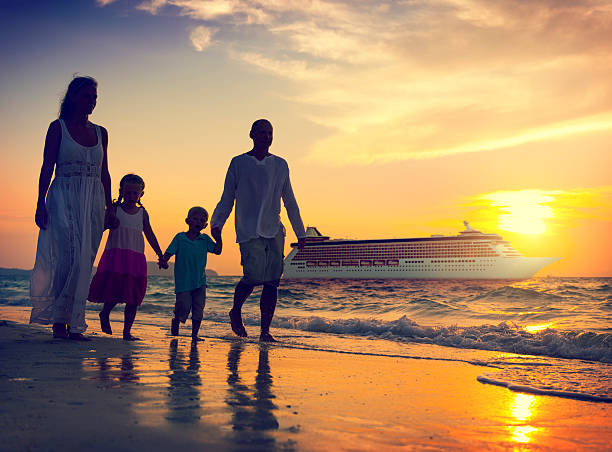family children beach cruise ship relaxation concept - cruise ship stock photos and pictures