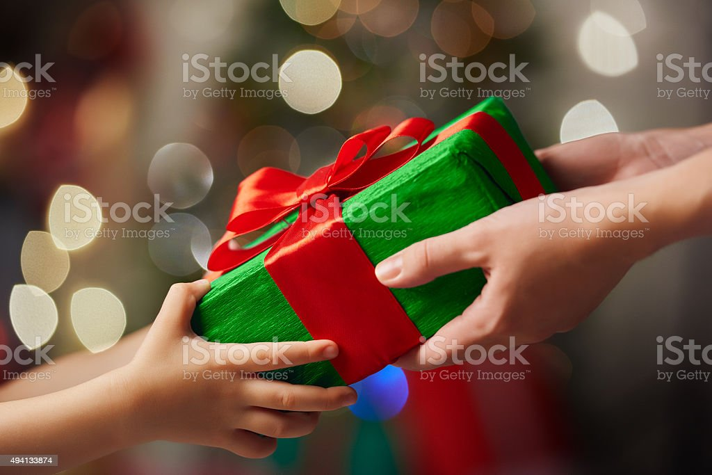 family christmas celebration stock photo