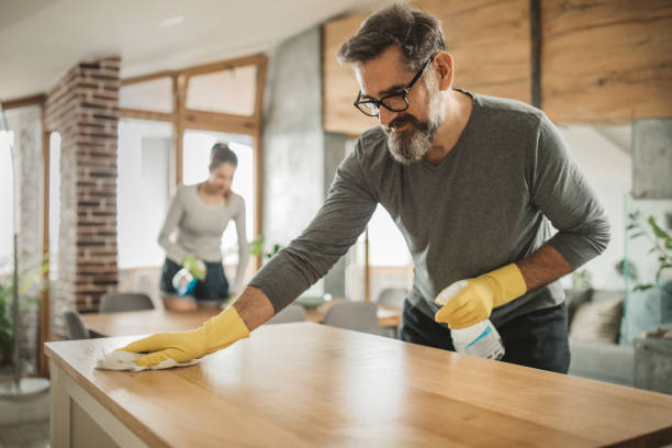 Family cleaning during isolation stock photo
