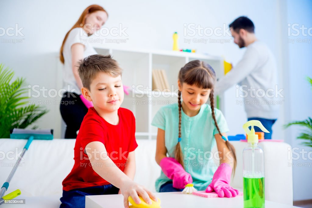 Family cleaning house royalty-free stock photo