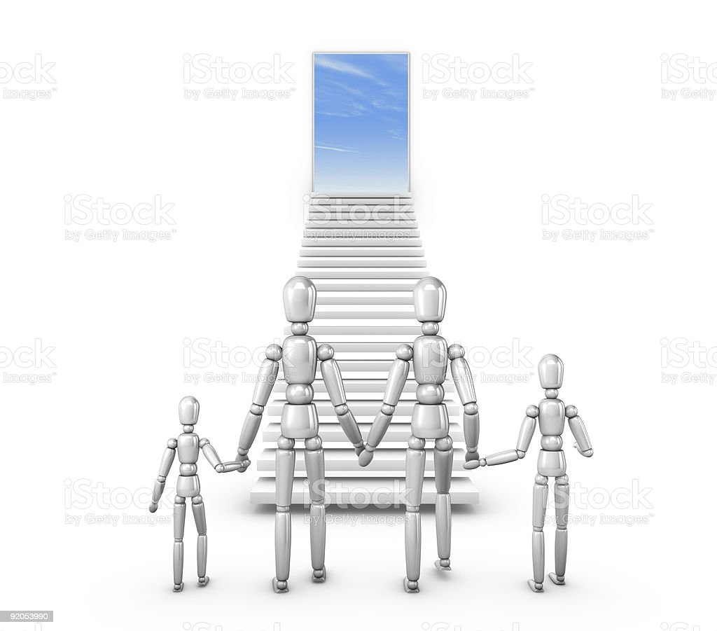 Family climbing to the bright future. royalty-free stock photo