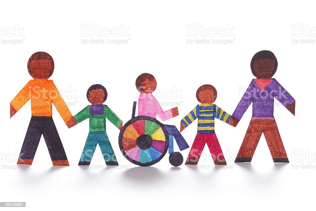 Family concept with wheelchair- paper dolls stock photo