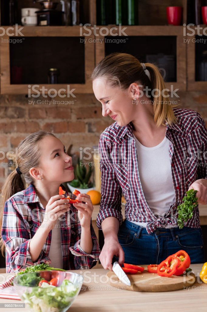 family cooking loving relationship food health stock photo