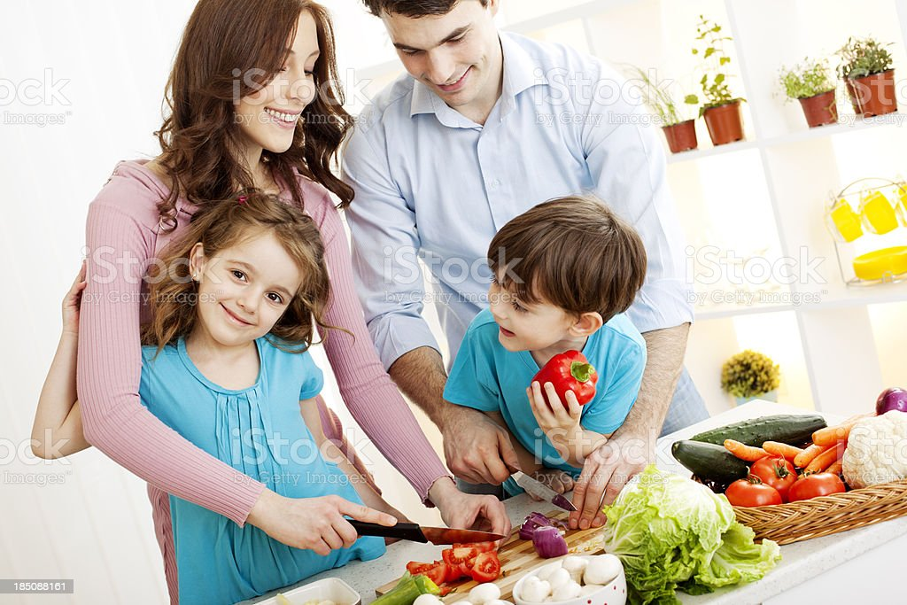 Family cooking together royalty-free stock photo