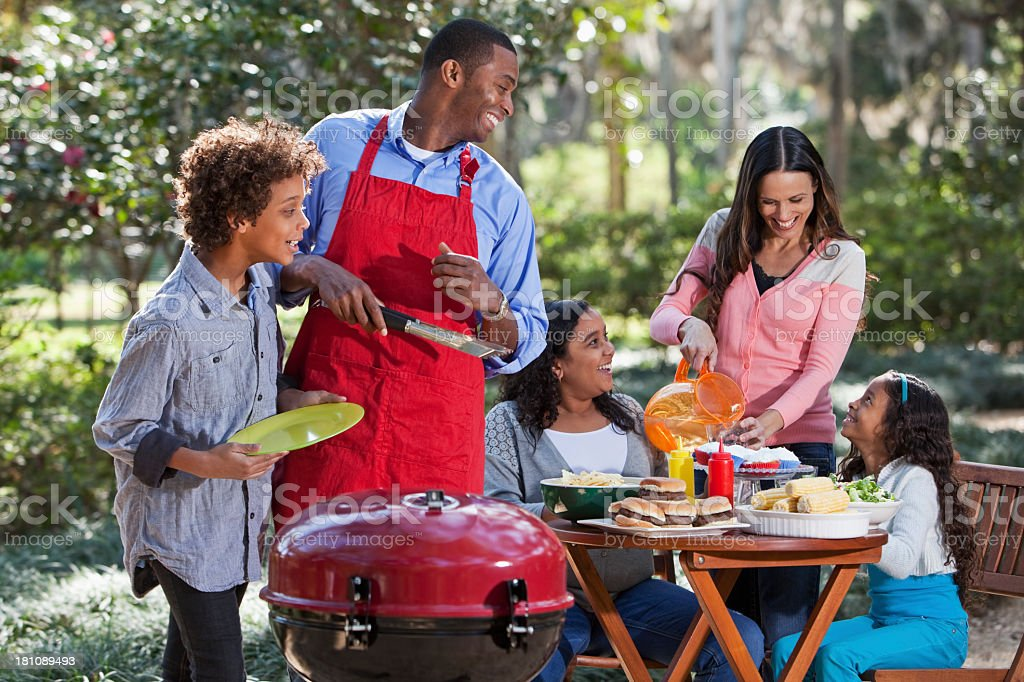 Family cookout stock photo
