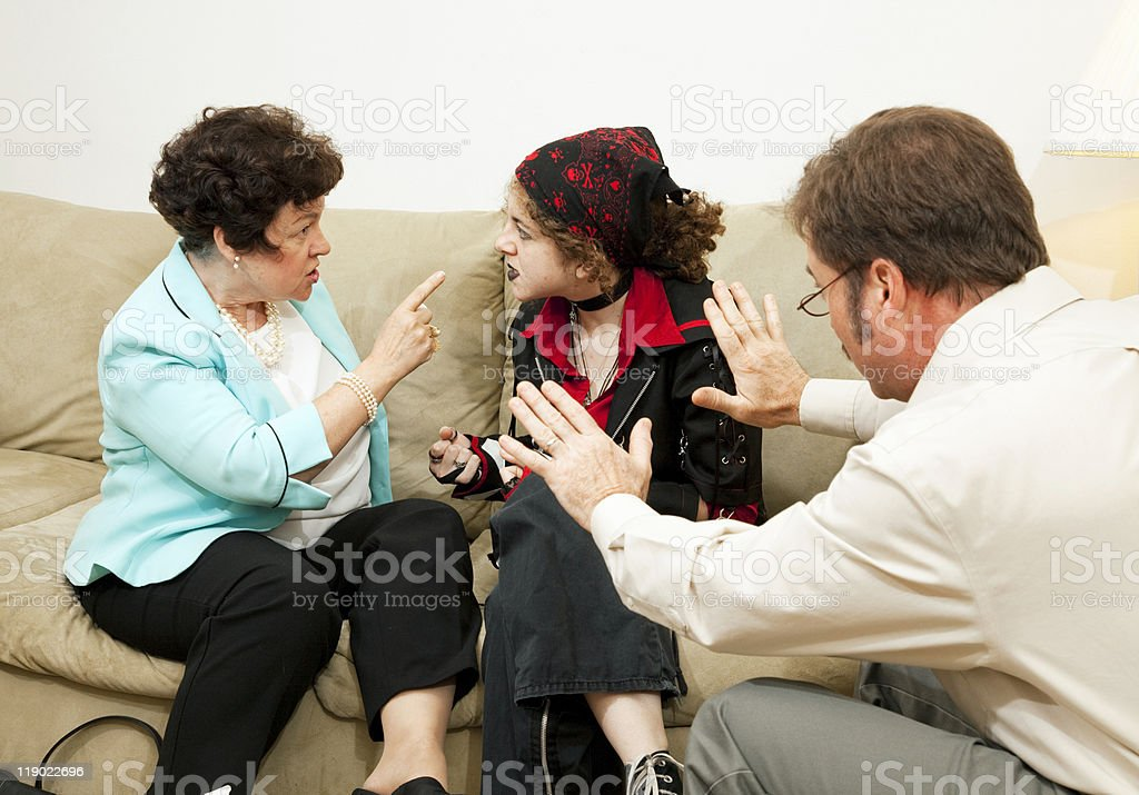 Family Counseling - Blame Daughter stock photo