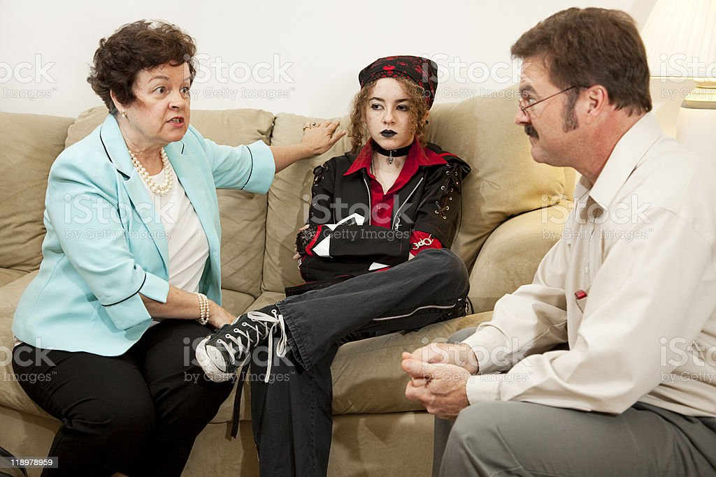 Family Counseling - She Drives Me Crazy stock photo