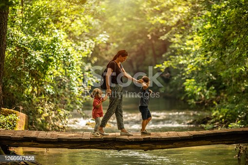 Young mother with her two kids crossing wooden footpath bridge in forest over river, side view