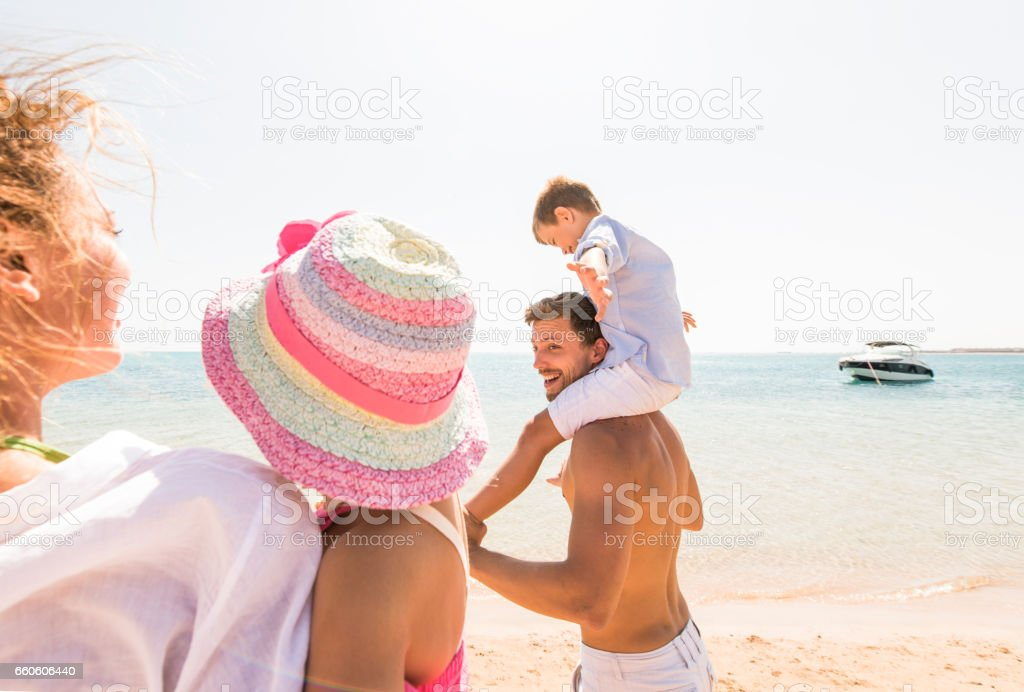 Family day at the beach! royalty-free stock photo